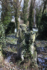 Stone Sculpture of Man from old Prague Cemetery, Czech Republic