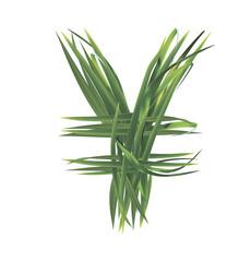 Yen sign from grass. Vector illustration