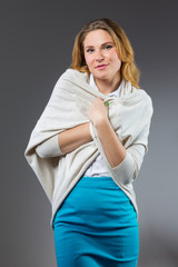 Attractive woman in stylish cardigan
