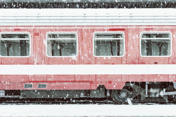 Vintage Effect Of Train Car During Heavy Snowfall