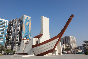 Ship sculpture in the city of Sharjah, United Arab Emirates