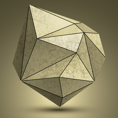 Distorted grunge copper 3d polygonal technology object, abstract