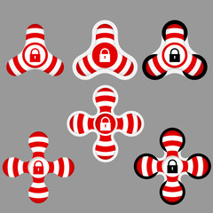 abstract red and white icons and padlock