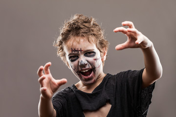 Screaming walking dead zombie child boy