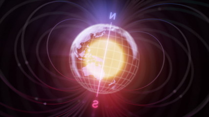 3d Earth with magnetic field