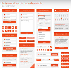 Professional set of orange web forms and elements