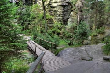 Park of Adrspach-Teplice rocks. Rock Town. Czech Republic