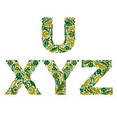Vector letters decorated with seasonal leaves, U, X, Y, Z. Vinta