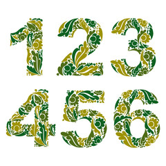 Vector numeration decorated with seasonal green leaves, 1, 2, 3,