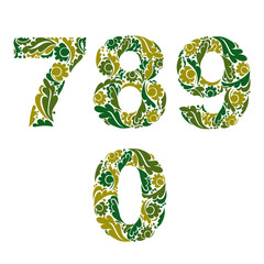 Spring style vector digits set, numbers with eco floral ornament