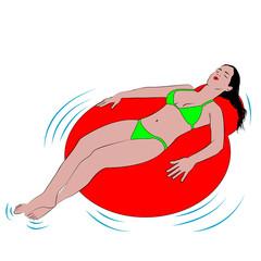 Mujer en flotador sobre fondo blanco