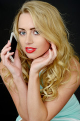Sexy Attactive Young Woman Using a Mobile Telephone
