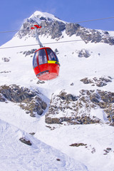 Cableway in ski resort Kitzsteinhorn- Kaprun, Austria