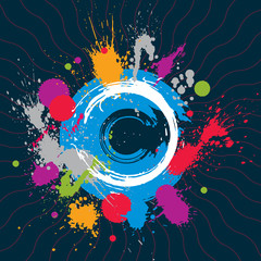 Colorful vector ink splash seamless pattern with overlap circles
