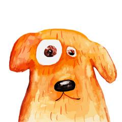Red dog portrait. Watercolor. Vector