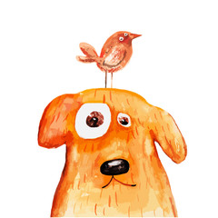 Red dog with bird on head. Watercolor. Vector