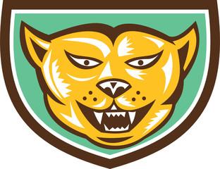Puma Mountain Lion Head Shield Woodcut