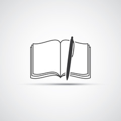 Book or Notebook Icon Design with Pen