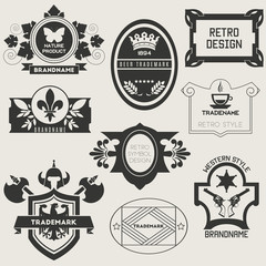 Retro Vintage Insignias or Logotypes. Vector set
