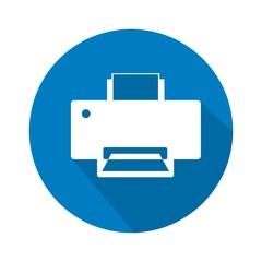 Icono impresora azul botón sombra