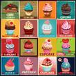 Vintage Cupcake poster design set