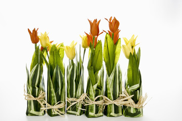 Tulpen, Gesteck, rote, gelbe, Tulpen, Ostern