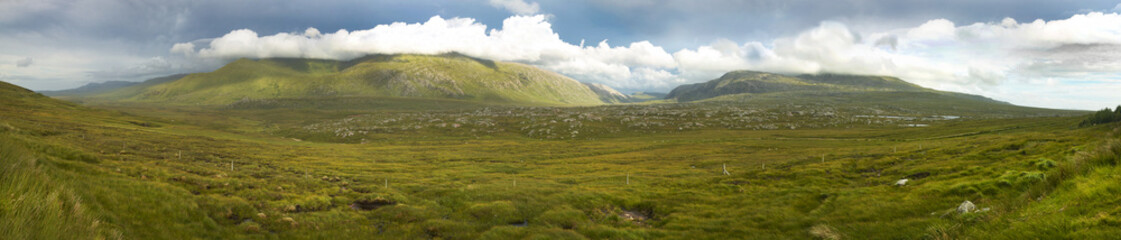 Panoramic scottish landscape with moorland and mountains in High