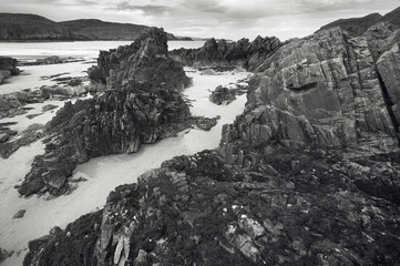 Scottish landscape coastline and beach. Highlands. Scotland