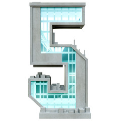 Number five in the form of urban buildings