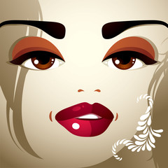 Face makeup. Lips, eyes and eyebrows of an attractive woman disp