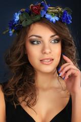 portrait beautiful woman brunet make up