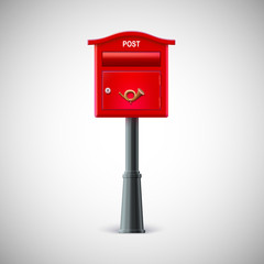 Red mailbox hanging on the wall, postal horn.