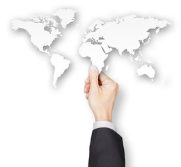 Hand of businessman holding world map paper