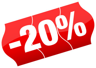 Price Tag Sale 20% Minus Red Divided