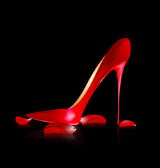 red shoe and petals