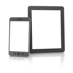 Generic digital tablet and smartphone against white background