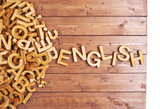 Fototapety Word english made with wooden letters