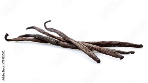 Fotobehang Aromatische Vanilleschoten Isoliert