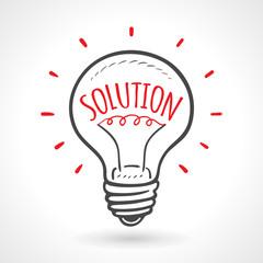Solution Bulb Hand Drawn Idea Concept