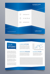 Business trifold brochure template - blue and white