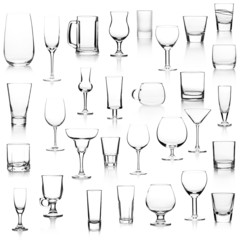 Different empty glasses