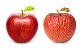 Wrinkled and fresh apple isolated - 77933612