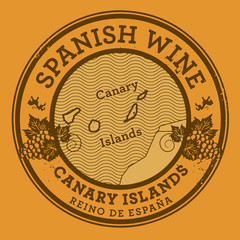 Grunge rubber stamp with words Spanish Wine, Canary Islands