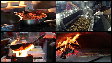 Professional Chefs Cooking Food in a Commercial Kitchen