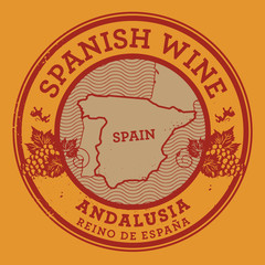 Grunge rubber stamp or label with words Spanish Wine, Andalusia