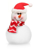 Snowman in red hat isolated