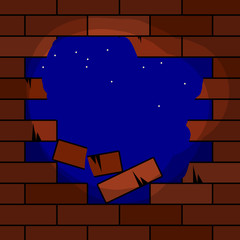 Hole in brick wall, vector