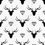 Deer Heads and Diamonds Seamless Pattern