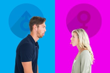 Composite image of childish couple having an argument