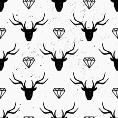 Deer Heads and Diamonds Seamless Pattern